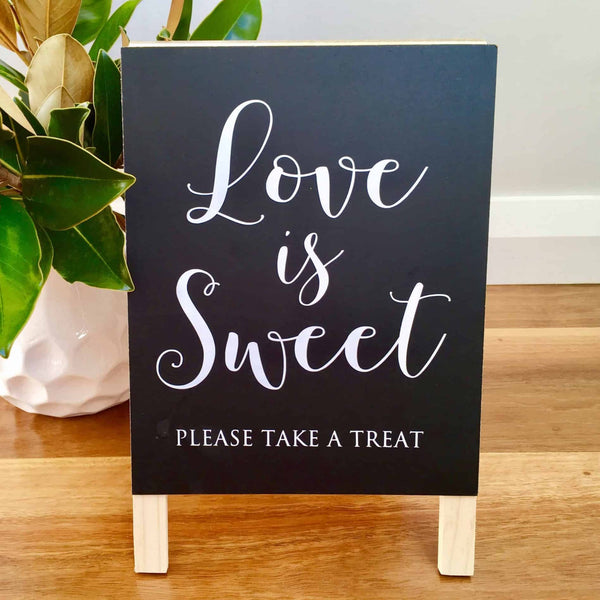 Rustic Love Is Sweet Wedding Sign - Blackboard Chalkboard Easel Decoration