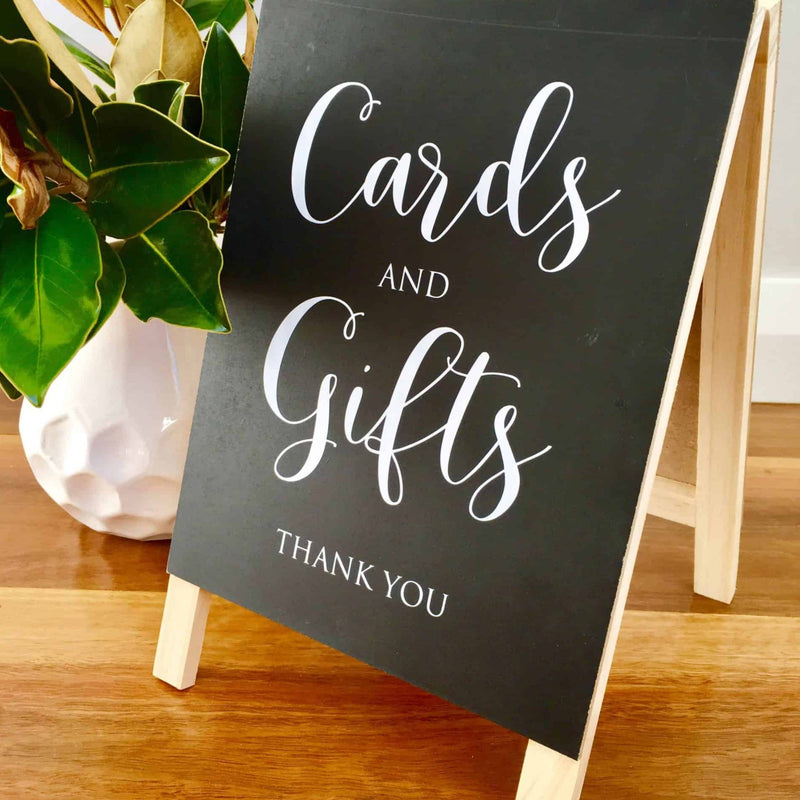 Rustic Cards And Gifts Wedding Sign - Blackboard Chalkboard Easel Decoration