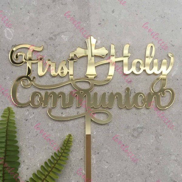 First Holy Communion Acrylic Gold Mirror Cake Topper