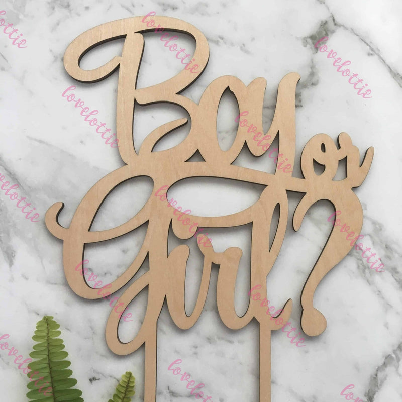 Boy Or Girl Rustic Wood Baby Gender Reveal Cake Topper