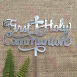 First Holy Communion Acrylic Silver Mirror Cake Topper
