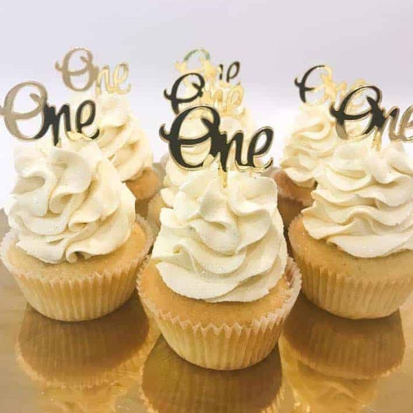 10 x One 1st Birthday Acrylic Gold Mirror Cupcake Topper