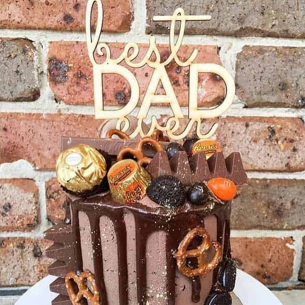 Best Dad Ever Fathers Day Rustic Wood Cake Topper