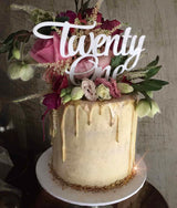Twenty One Acrylic White Gloss 21st Birthday Cake Topper