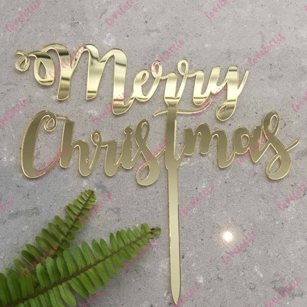 Curly Merry Christmas Cake Topper Acrylic Gold Mirror