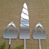 Unicorn Horn Ears Set Acrylic Silver Mirror Birthday Party Cake Topper