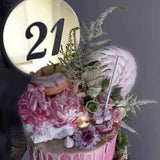 21st Birthday Acrylic Gold Mirror Round Cake Topper