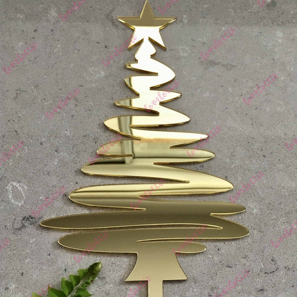 Christmas Tree Cake Topper Acrylic Gold Mirror