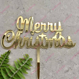 Script Merry Christmas Cake Topper Acrylic Gold Mirror