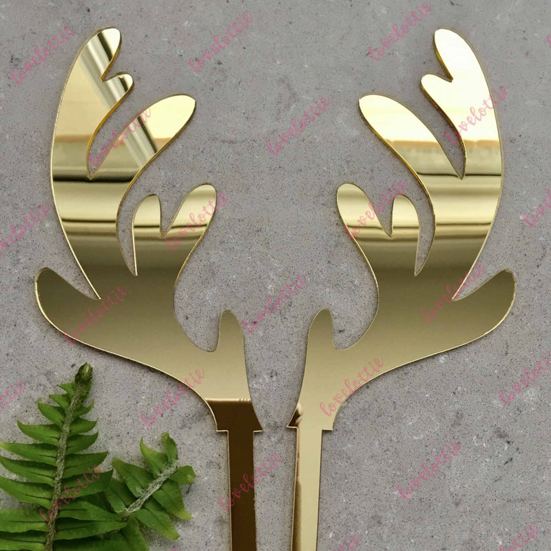 Christmas Reindeer Antlers Cake Topper Acrylic Gold Mirror