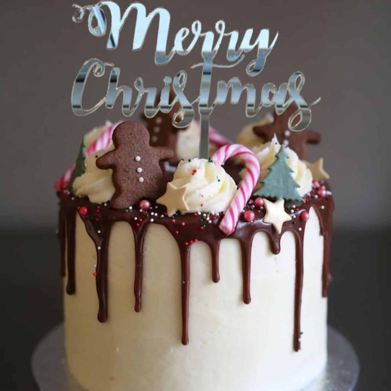 Curly Merry Christmas Cake Topper Acrylic Silver Mirror