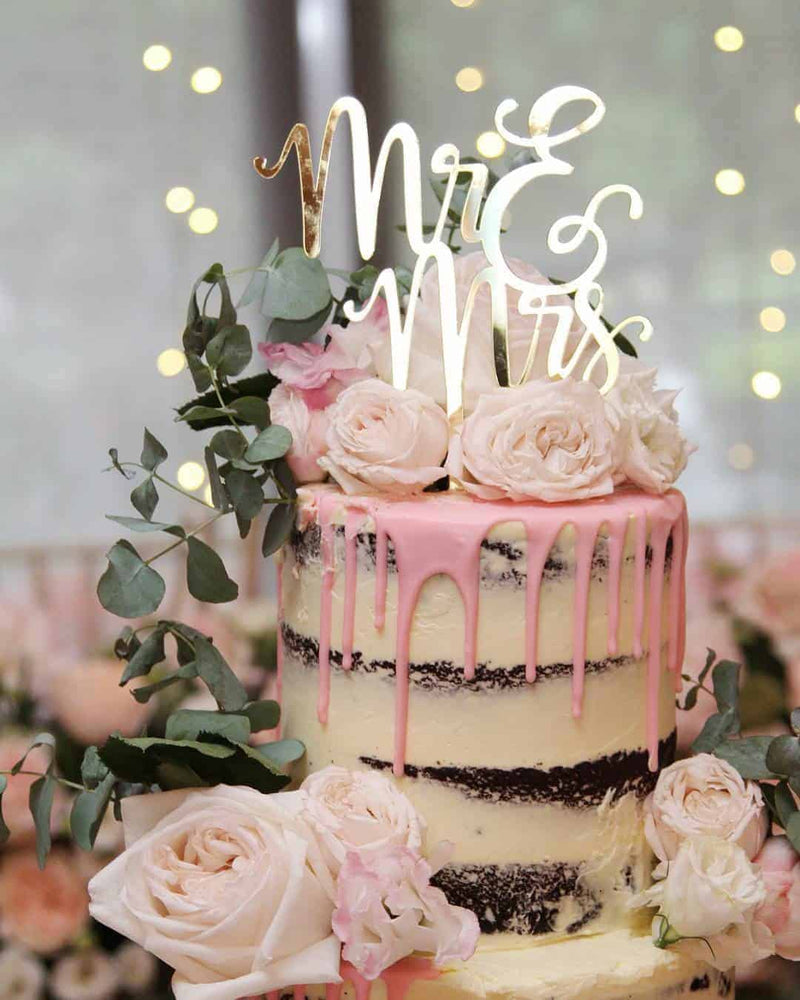Mr & Mrs (two lines) Acrylic Gold Mirror Wedding Cake Topper