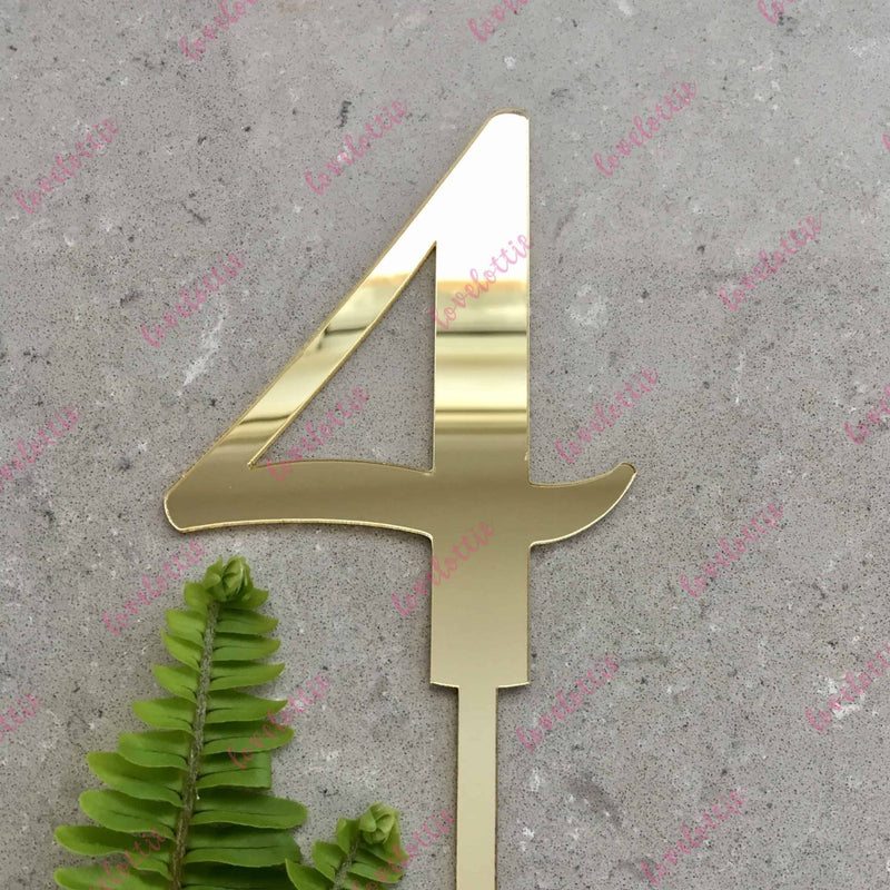 Number 4 Acrylic Gold Mirror Birthday Cake Topper