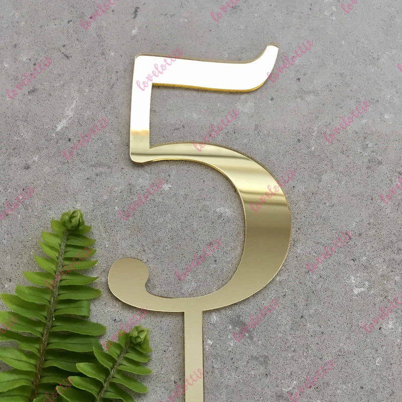 Number 5 Acrylic Gold Mirror Birthday Cake Topper