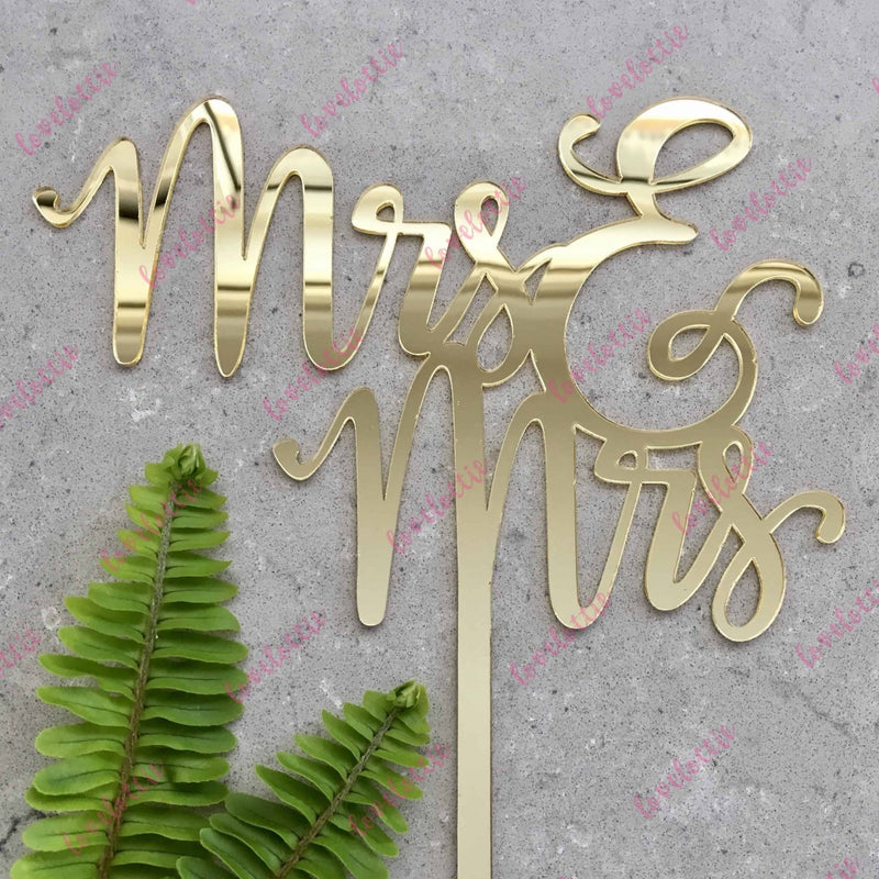Mrs & Mrs Lesbian Acrylic Gold Mirror Wedding Cake Topper