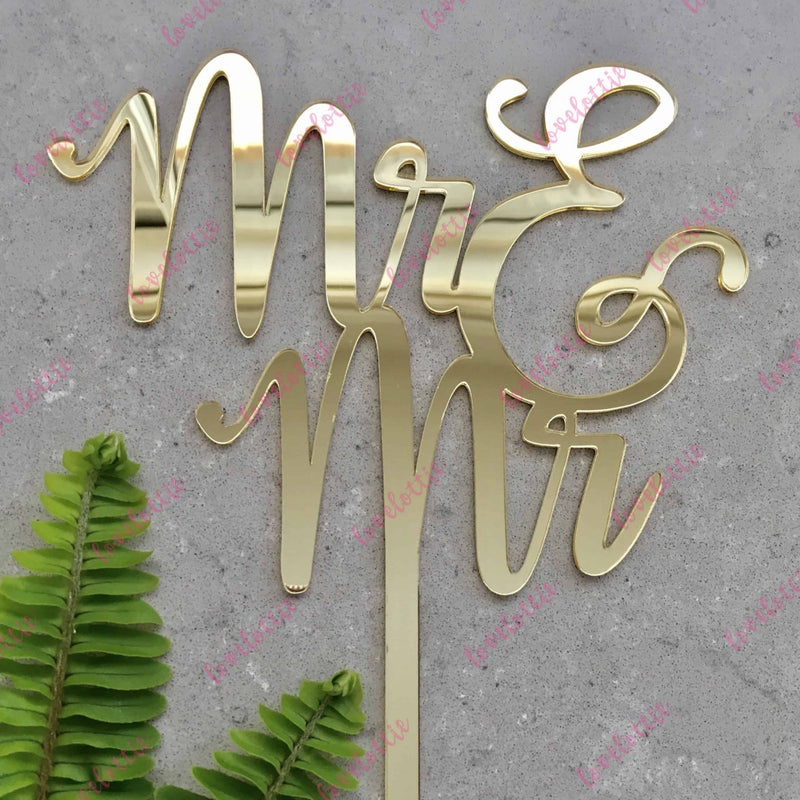Mr & Mr Gay Acrylic Gold Mirror Wedding Cake Topper