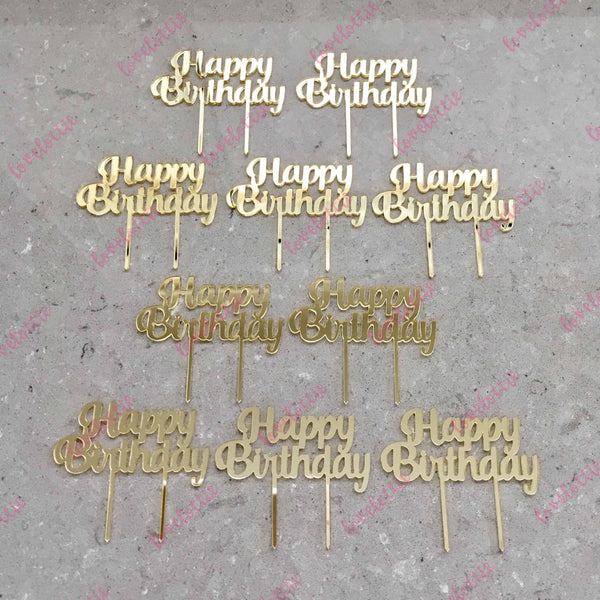 10 x Happy Birthday Acrylic Gold Mirror Cupcake Topper