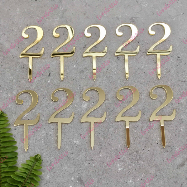10 x Number 2 Birthday Acrylic Gold Mirror Cupcake Topper