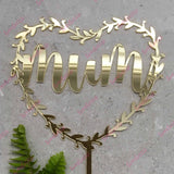 Mum Heart Halo Acrylic Gold Mirror Cake Topper Mothers Day