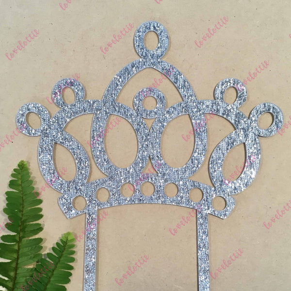 Princess Tiara Crown Silver Glitter Acrylic Brithday Cake Topper