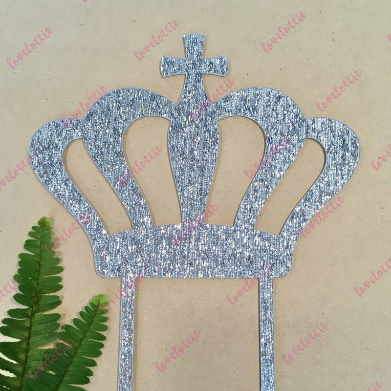 Crown Cross Christening Baptism Silver Glitter Acrylic Brithday Cake Topper