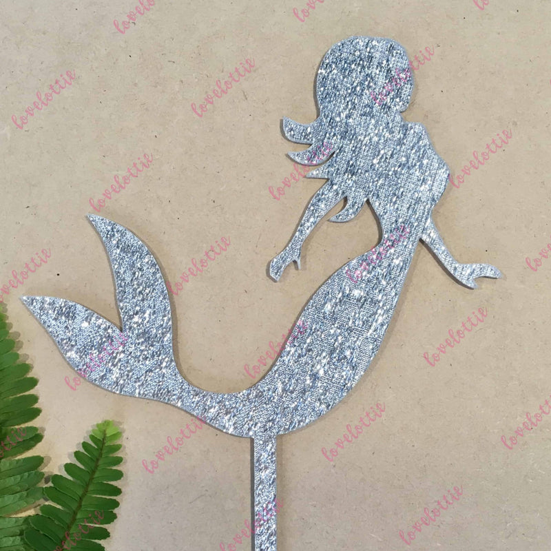 Mermaid Silver Glitter Acrylic Brithday Cake Topper