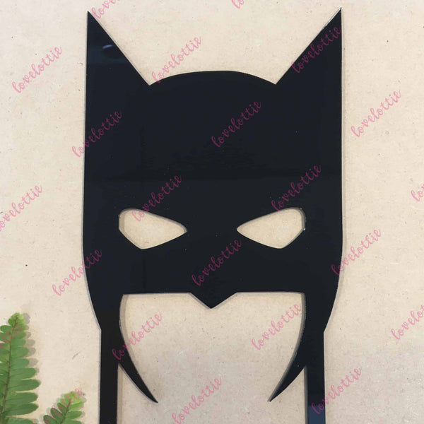 Batman Mask Superhero Black Acrylic Brithday Cake Topper