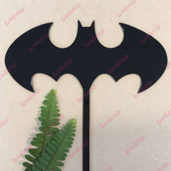 Batman Bat Superhero Black Acrylic Brithday Cake Topper