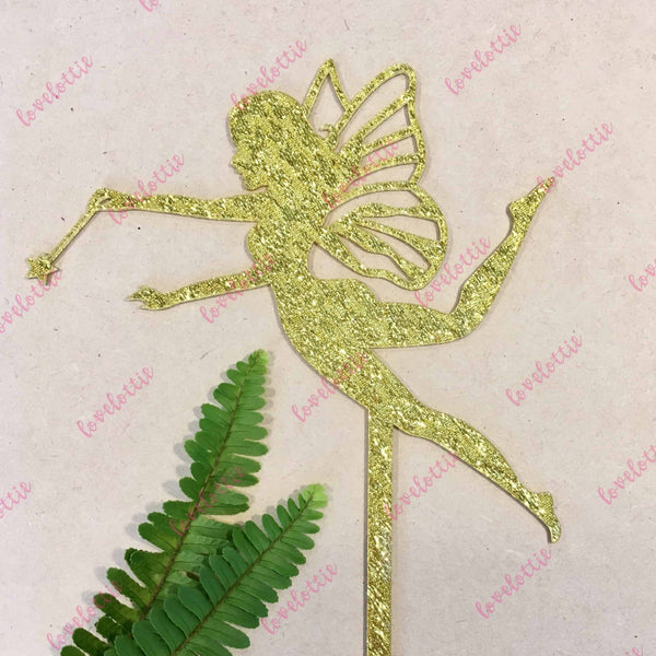 Fairy Gold Glitter Acrylic Brithday Cake Topper