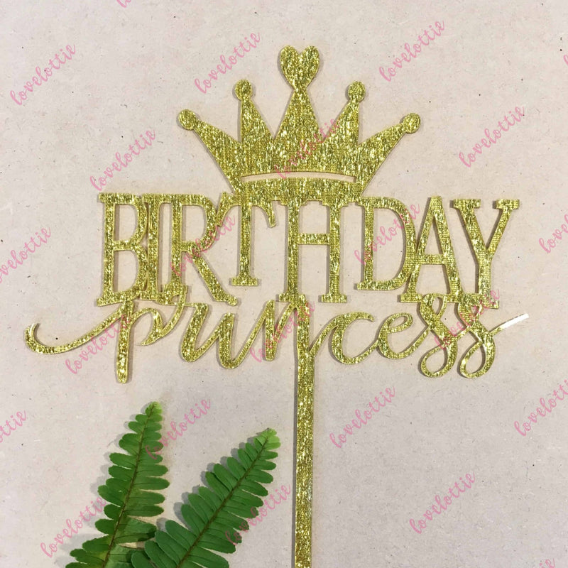 Birthday Princess Gold Glitter Acrylic Brithday Cake Topper