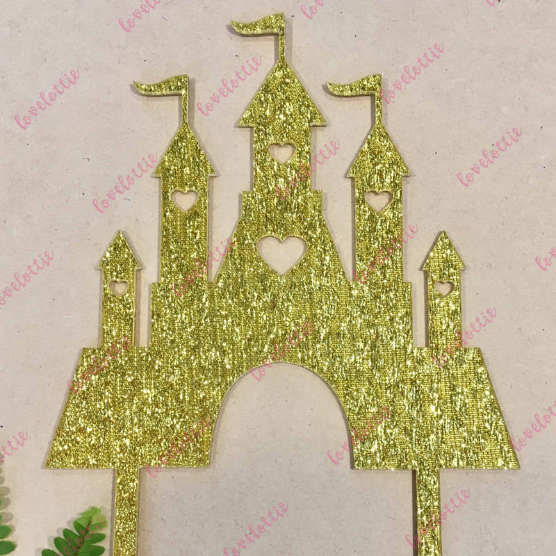Princess Castle Gold Glitter Acrylic Brithday Cake Topper