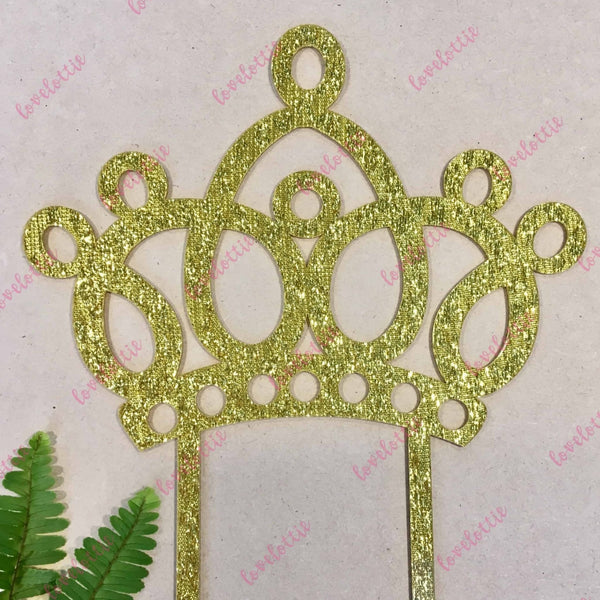 Princess Tiara Crown Gold Glitter Acrylic Brithday Cake Topper