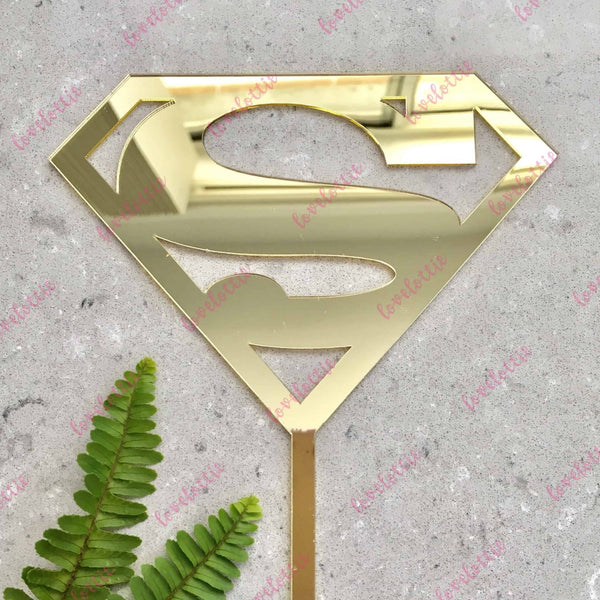 Superman Superhero Gold Mirror Acrylic Brithday Cake Topper