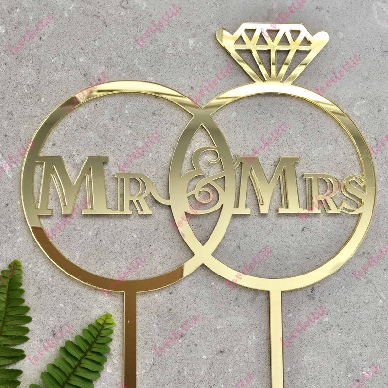 Mr & Mrs Wedding Rings Gold Mirror Acrylic Cake Topper