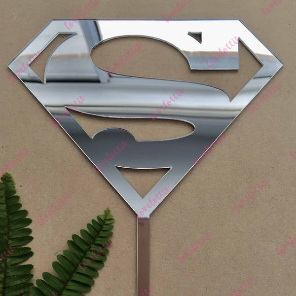 Superman Superhero Silver Mirror Acrylic Brithday Cake Topper