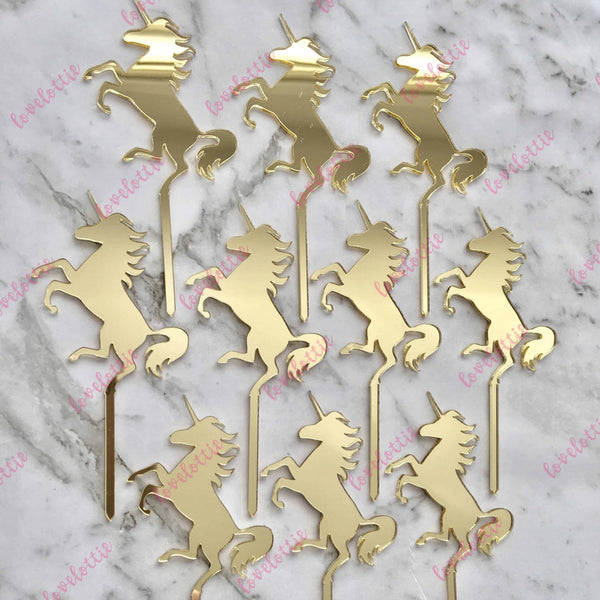 10 x Unicorn Cupcake Gold Mirror Acrylic Brithday Cake Topper