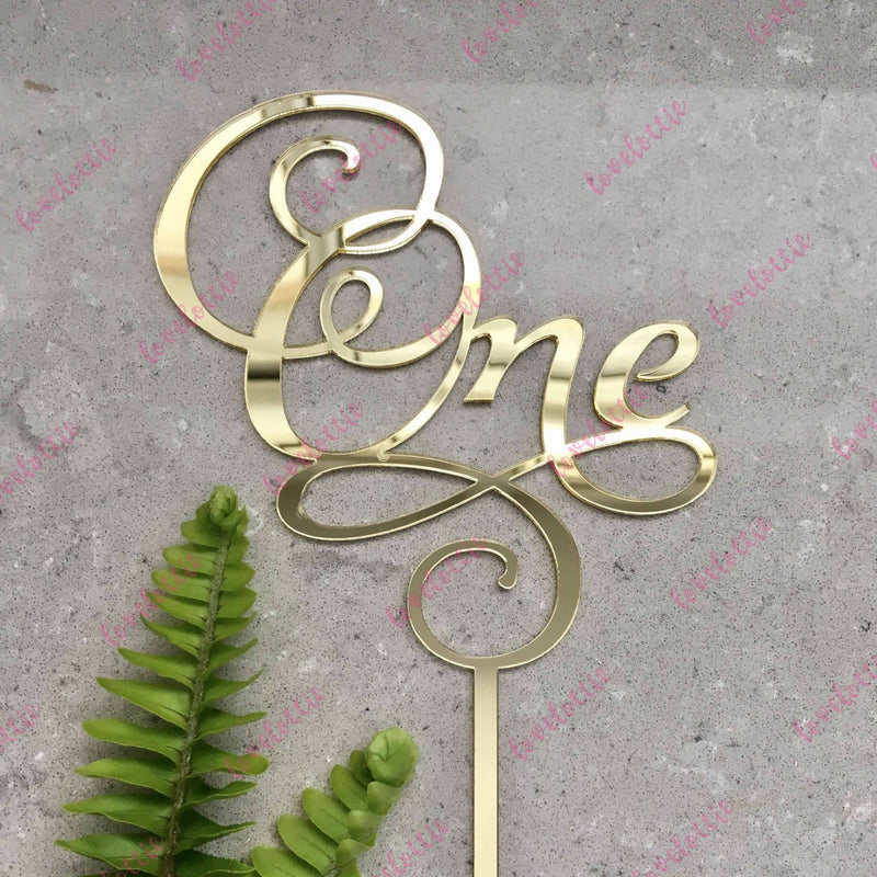 One Swirl Acrylic Gold Mirror Cake Topper For First 1st Birthday