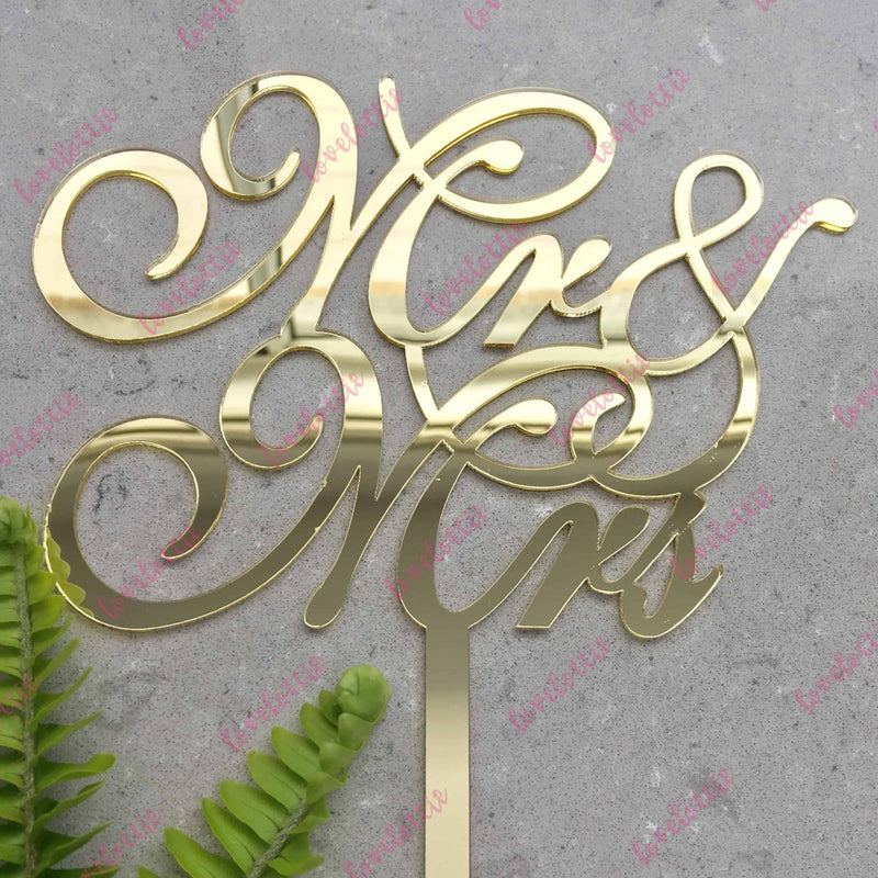 Mr & Mrs Script Acrylic Gold Mirror Wedding Cake Topper