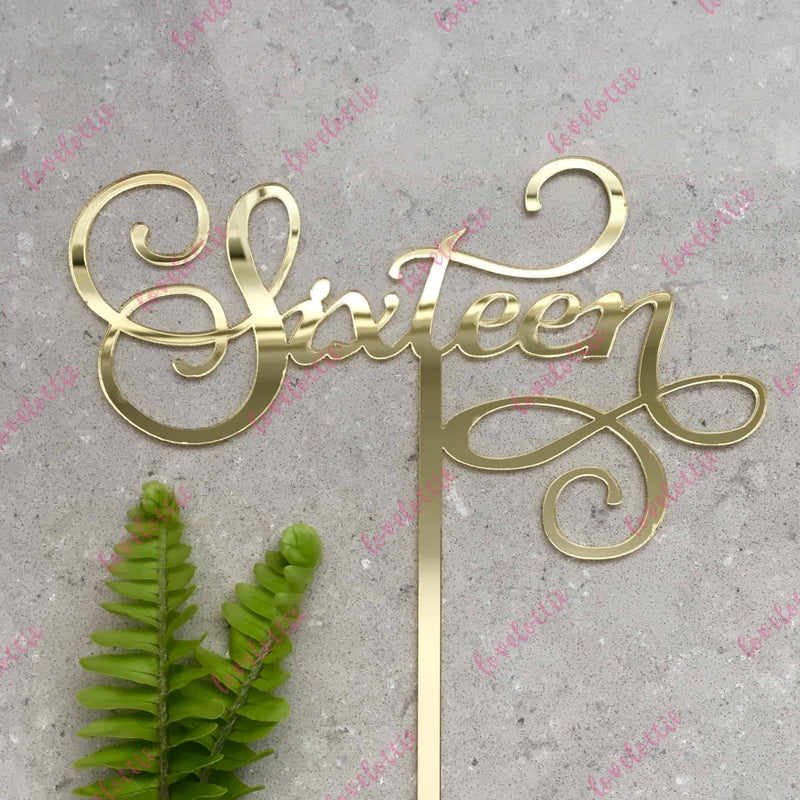 Sixteen Swirl Acrylic Gold Mirror 16th Birthday Cake Topper