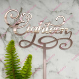 Eighteen Swirl Acrylic Rose Gold Mirror 18th Birthday Cake Topper