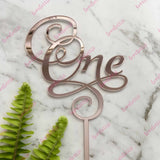One Swirl Acrylic Rose Gold Mirror Cake Topper