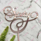 Sixty Swirl Acrylic Rose Gold Mirror 60th Birthday Cake Topper
