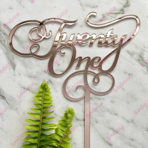 21st Birthday Cake Topper Swirl Rose Gold Mirror