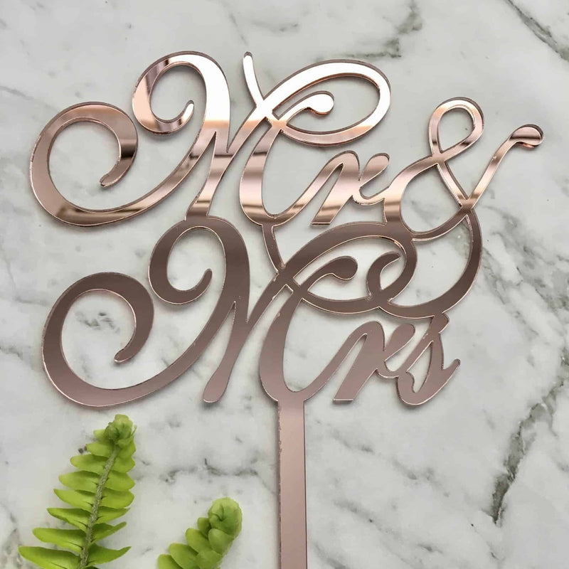Mr & Mrs Script Acrylic Rose Gold Mirror Wedding Cake Topper