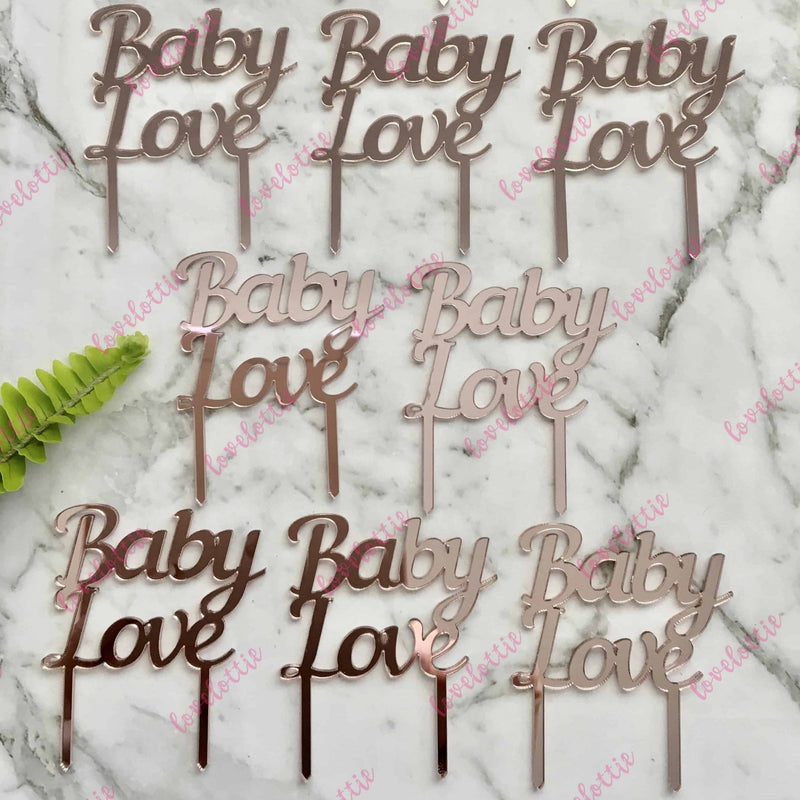 Baby Love Cupcake Toppers x 10 Acrylic Rose Gold Mirror