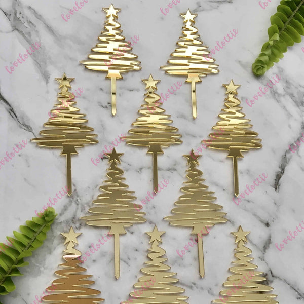 Christmas Tree Cupcake Toppers x 10 Acrylic Gold Mirror