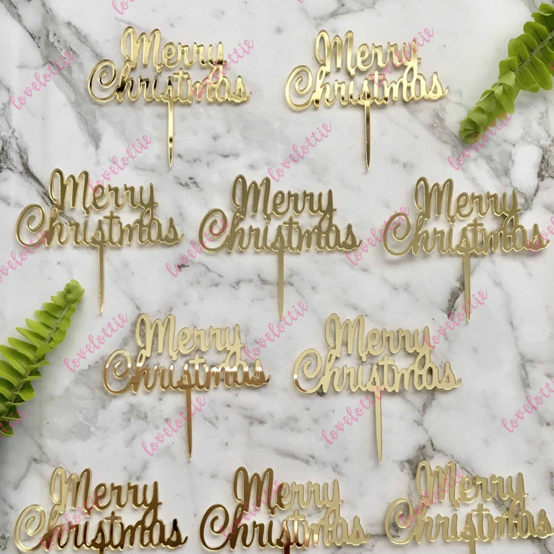 Merry Christmas Cupcake Toppers x 10 Gold Mirror