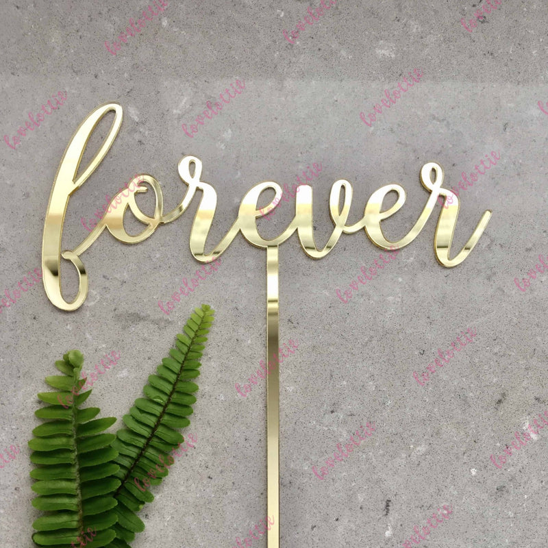 Forever Acrylic Gold Mirror Wedding Cake Topper