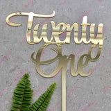 Twenty One Acrylic Gold Mirror 21st Birthday Cake Topper