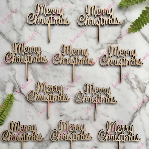 Script Merry Christmas Cupcake Toppers x 10 Rustic Wood